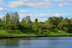 Bank of Moscow Canal in Khimki, Russia Royalty Free Stock Photo