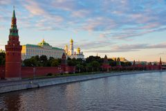 Bank of the Moscow River with views of the Kremlin Royalty Free Stock Image