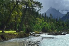 Bank of mountains river. This is colorful view in Caucasus mountains in autumn Stock Photos