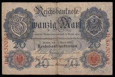 Bank note (bill) of keiser Germany. 20 mark. 1910. Obverse. Royalty Free Stock Image