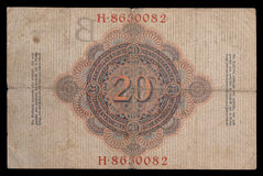 Bank note (bill) of keiser Germany. 20 mark. 1910. Reverse. Royalty Free Stock Photography