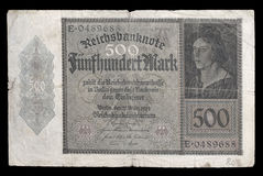 Bank note (bill) of Weimar republic. 500 mark. 1922. Obverse. Royalty Free Stock Photography