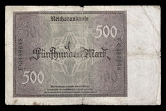 Bank note (bill) of Weimar republic. 500 mark. 1922. Reverse. Royalty Free Stock Images