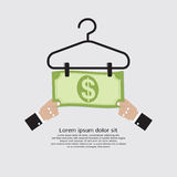 Bank Note Dry On Clothes Hanger Finance And Business Concept. Vector Illustration Stock Photos