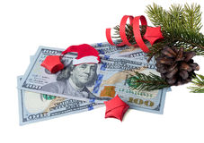 Bank note with Santa Claus and spruce Stock Photo