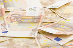 Bank notes. A lot of euro bank notes lying on the ground Royalty Free Stock Photos