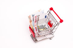 Bank notes in a cart Stock Image