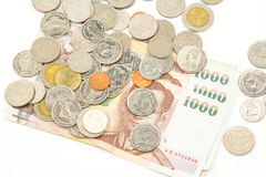 Bank Notes and Coins in Thai Baht Currency. Stock Photography