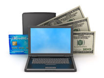 Bank notes, credit card, leather wallet and laptop Royalty Free Stock Photo