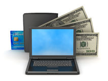 Bank notes, credit card, leather wallet and laptop stock photo