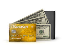 Bank notes, credit card and leather wallet stock illustration
