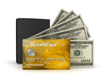 Bank notes, credit or debit card and leather wallet Stock Image