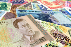 Bank notes of different countries Royalty Free Stock Image