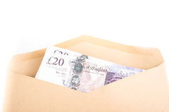 Bank notes in envelope Stock Photo