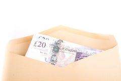 Bank notes in envelope. British pound bank notes in envelope Stock Photo
