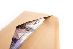 Bank notes in envelope. British pound bank notes in envelope Stock Photography