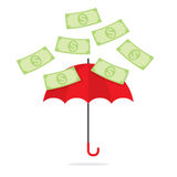 Bank Notes Falling Towards Umbrella Stock Photography