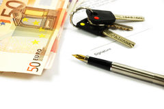 Bank Notes, Keys And A Gold-nibbed Pen Stock Images
