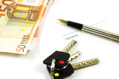 Bank Notes, Keys And A Pen Royalty Free Stock Images