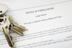 Foreclosure keys. Bank Notice of Foreclosure document and keys Royalty Free Stock Photos