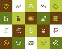 Bank och finansiella symboler Plan stil vektor illustrationer
