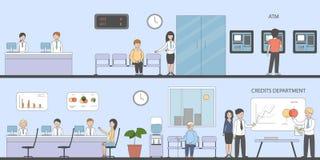 Bank- och kontorsinre stock illustrationer