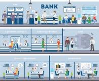 Bank- och kontorsinre vektor illustrationer