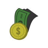 Bank- och myntdesignvektor Fotografering för Bildbyråer