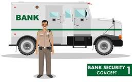 Bank ochrony pojęcie Szczegółowa ilustracja banka opancerzony samochód i pracownik ochrony na białym tle w mieszkaniu projektujem royalty ilustracja