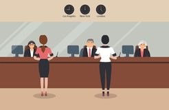 Bank office:Bank employees sit behind a barrier with glass and serve the Bank customers.Elegant interior with three wall clocks vector illustration