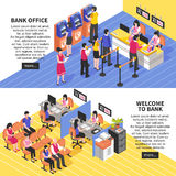 Bank Office Horizontal Isometric Banners Royalty Free Stock Photos