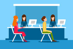 Bank Office Interior Client Man Woman Sit Desk Banker Worker Workplace. Flat Vector Illustration Royalty Free Stock Photography