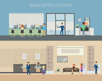 Bank office interior with consultants at reception royalty free illustration