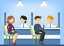 Bank office interior. Financial consulting. Person sitting. At the desk and talk to female consultant. Operation with finance stock illustration