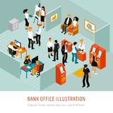 Bank Office Isomeric Composition. Bank office interior isomeric composition with atm machines financial analytics  customer advisers clients police officer Stock Images