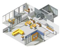 Bank Office Interior Isometric Composition Stock Images