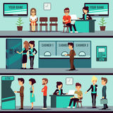 Bank office interior with people, clients and bank clerks vector flat banking concept Stock Photography