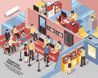 Bank Office Isometric Illustration vector illustration