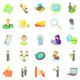 Bank officer icons set, cartoon style Royalty Free Stock Image