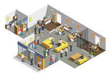 Bank Office Interior Isometric Composition vector illustration