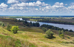 Bank of Oka river. Central Russia, Ryazan region Stock Photos