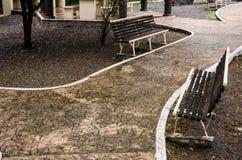 bank op een rode baksteenweg in een mooi openluchtpark stock foto