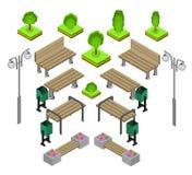 bank Openlucht het Pictogramreeks van parkbanken Royalty-vrije Stock Afbeeldingen