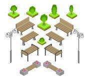 bank Openlucht het Pictogramreeks van parkbanken Stock Foto