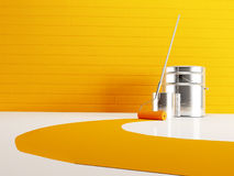 Bank of paint and roller Stock Photo