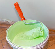 Bank of paint and roller 1 Royalty Free Stock Photo