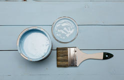 Bank paints and brush Royalty Free Stock Photos