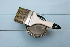Bank paints and brush Stock Photo