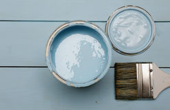 Bank paints and brush Stock Image