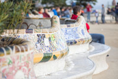 Bank in Park Guell Royalty Free Stock Photo